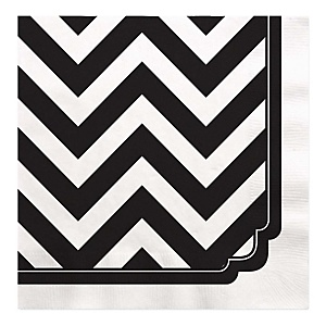 Black and White Chevron - Baby Shower Luncheon Napkins - 16 Pack