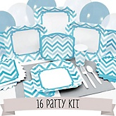 Blue Chevron - 16 Person Baby Shower Kit