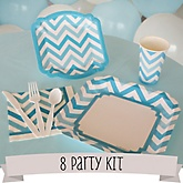 Blue Chevron - 8 Person Baby Shower Kit