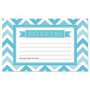 Blue Chevron - Baby Shower Helpful Hint Advice Cards Game - 18 Count