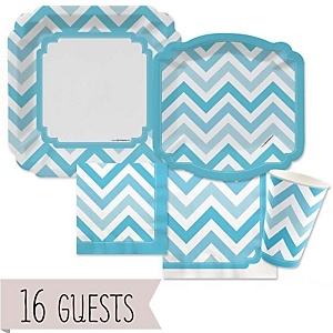 Blue Chevron - Baby Shower Tableware Bundle for 16 Guests