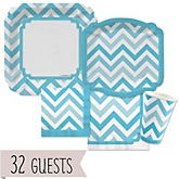 Blue Chevron - Baby Shower Tableware Bundle for 32 Guests