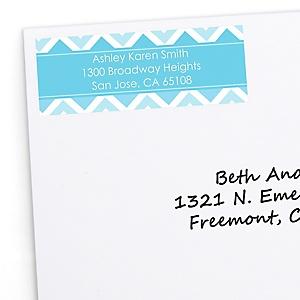 Blue Chevron - Personalized Baby Shower Return Address Labels - 30 ct