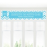 Blue Chevron Chevron - Personalized Baby Shower Banner