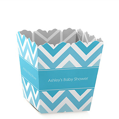 blue chevron baby shower candy boxes