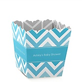 Blue Chevron - Personalized Baby Shower Candy Boxes
