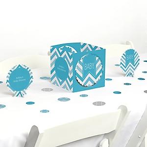 Chevron Blue - Baby Shower Centerpiece & Table Decoration Kit