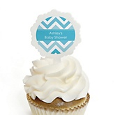 Blue Chevron - 12 Cupcake Picks & 24 Personalized Stickers - Baby Shower Cupcake Toppers