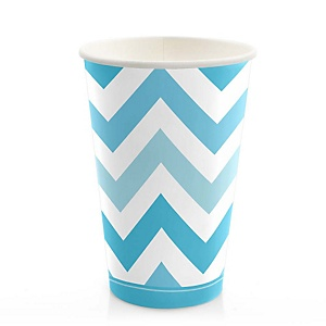 Blue Chevron - Baby Shower Hot/Cold Cups - 8 Pack
