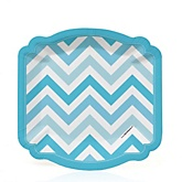Blue Chevron - Baby Shower Dessert Plates - 8 Pack