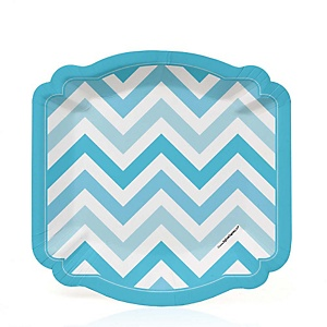Chevron Blue - Baby Shower Dessert Plates - 8 ct