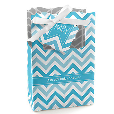 Blue Chevron - Personalized Baby Shower Favor Boxes...