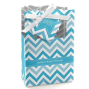Chevron Blue - Personalized Baby Shower Favor Boxes