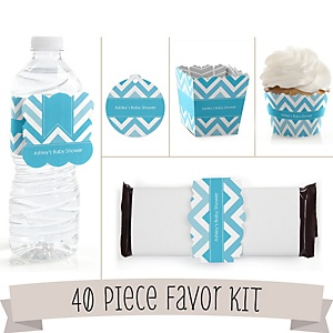 Blue Chevron - Do It Yourself 40 Piece Personalized Party Kit