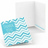 Blue Chevron - Baby Shower Thank You Cards - Set of  8