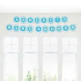 Blue Chevron - Personalized Baby Shower Garland Banner