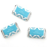 Blue Chevron - Personalized Baby Shower Mini Candy Bar Wrapper Favors - 20 ct
