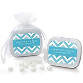 Blue Chevron - Mint Tin Personalized Baby Shower Favors