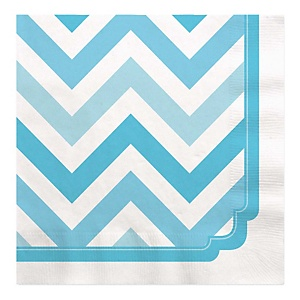 Blue Chevron - Baby Shower Luncheon Napkins - 16 Pack