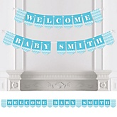 Blue Chevron - Personalized Baby Shower Bunting Banner