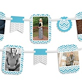 Blue Chevron - Baby Shower Photo Bunting Banner