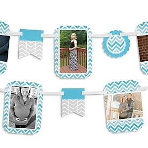 Chevron Blue - Baby Shower Photo Garland Banners