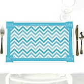 Blue Chevron - Personalized Baby Shower Placemats