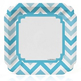 Blue Chevron - Baby Shower Dinner Plates - 8 Pack