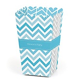 Blue Chevron - Personalized Baby Shower Popcorn Boxes