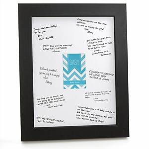 Blue Chevron - Personalized Baby Shower Print with Signature Mat