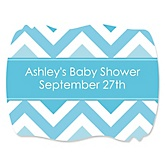 Blue Chevron - Personalized Baby Shower Squiggle Sticker Labels - 16 Count