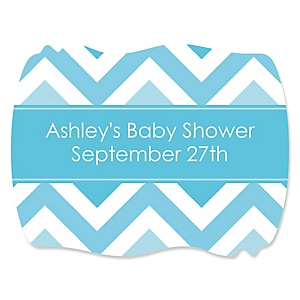Chevron Blue - Personalized Baby Shower Squiggle Stickers - 16 ct