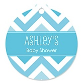 Blue Chevron - Personalized Baby Shower Round Tags - 20 Count