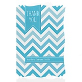 Blue Chevron - Personalized Baby Shower Thank You Cards