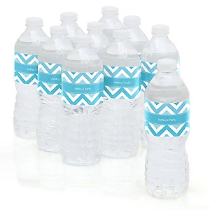 Chevron Blue - Personalized Party Water Bottle Sticker Labels - Set of 10