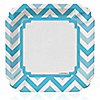 Chevron Blue - Everyday Party Dinner Plates - 8 ct