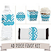 Chevron Blue - 40 Piece Personalized Everyday Party Kit