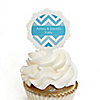 Chevron Blue - Personalized Everyday Party Cupcake Pick and Sticker Kit - 12 ct