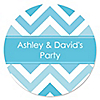 Chevron Blue - Personalized Everyday Party Sticker Labels - 24 ct