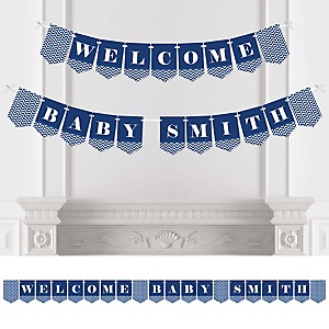 Navy Chevron - Personalized Baby Shower Bunting Banner