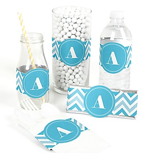 Chevron Blue - DIY Party Wrappers - 15 ct