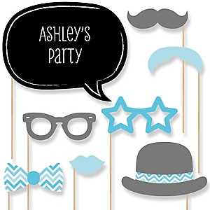 Blue Chevron - Baby Shower Photo Booth Props Kit - 20 Props