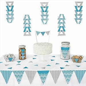 Chevron Blue - 72 Piece Triangle Party Decoration Kit