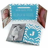 Blue Chevron - Photo Birth Announcements