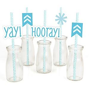 Chevron Blue - Paper Straw Decor - Baby Shower or Birthday Party Striped Decorative Straws - Set of 24