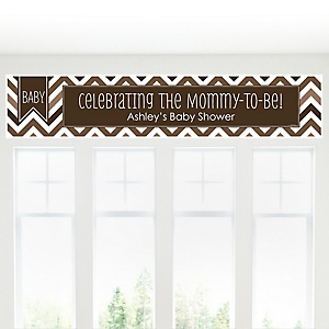 Brown Chevron - Personalized Baby Shower Banner