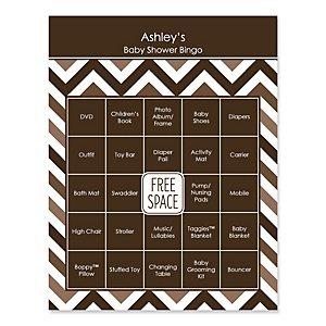 Brown Chevron - Bingo Personalized Baby Shower Games - 16 Count