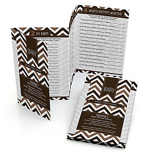 Brown Chevron - Fabulous 5 Personalized Baby Shower Games