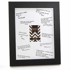 Brown Chevron - Personalized Baby Shower Print with Signature Mat