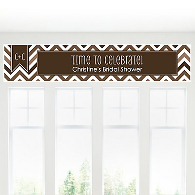 Chevron Brown - Personalized Bridal Shower Banners...